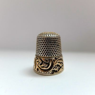 Antique Gold Band Sterling Silver Thimble 14k Gold Scroll Sides Size 8