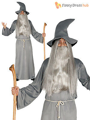 Adult Wizard Costume Mens Magician Halloween Fancy Dress Costume Gandalf Outfit