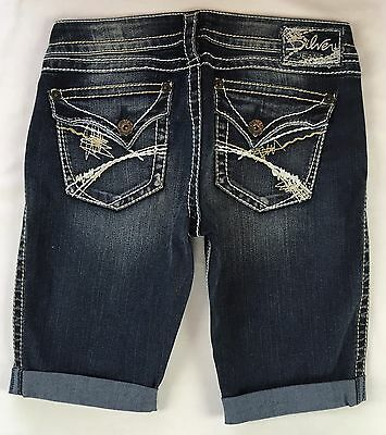 SILVER JEANS Sale Buckle Low Distressed Embellished Tuesday Denim Jean Shorts 25