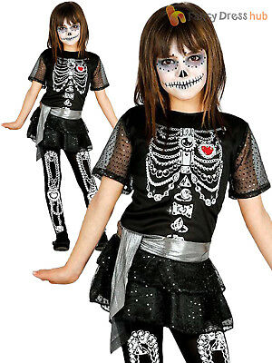 Girls Glittery Skeleton Costume Halloween Fancy Dress Kids Childs Party Outfit