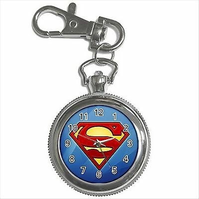 NEW* HOT SUPERMAN HERO LOGO Silver Color Key Chain Ring Watch Gift