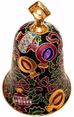 Vintage Cloisonne Bell CHRISTMAS ORNAMENT ENAMEL BELL Collectible Bell Gold Trim