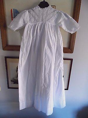 """Antique Vintage Christening Gown Beautiful Lace Work to the Neck Area 1920s 34"""""""