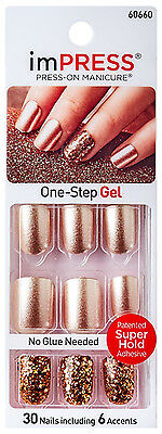 KISS imPRESS Press-On BRIGHT AS A FEATHER 30 Nails+Accent GOLD+CONFETTI #60660