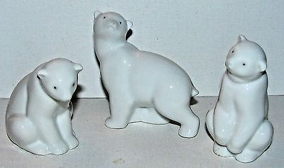 7. THREE Vintage Nao by Lladro Spain Fine Porcelain Polar Bear Figurines PERFECT