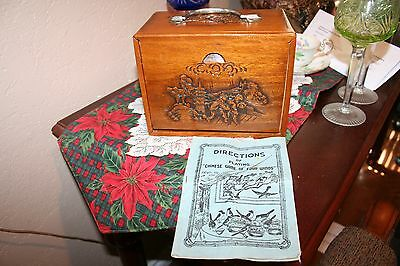 Antique Carved Rosewood (?) Box Mahjong Game Bone Bamboo 152 Pieces w/Playbook