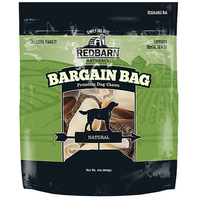 Red Barn BARGAIN BAG Dog Treats 2+ Pounds Bully Puffs Bones Chew Ear NATURAL