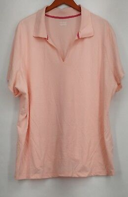 Basic Editions T Shirt Plus Size 3X Short Sleeve V Neck Light Pink New