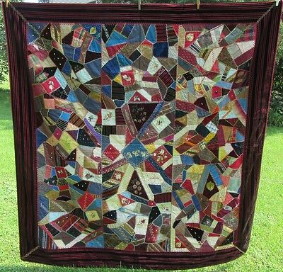 Antique Crazy Quilt Fancy Silks Embroidered Bugs Velvet Edge