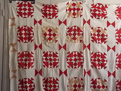 "Striking Red/White Nine-Patch Quilt Top Bow Tie Lattice ~Unfinished~ 80"" x 70"""