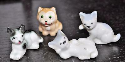 So CUTE!   VINTAGE Lot of 4  Mini Kitty Cat Figurines  Miniatures Mchm#36