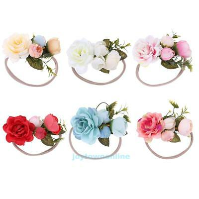 Newborn Baby Girls Infant Floral Headband Garland Hair Band Headwear Photo Prop