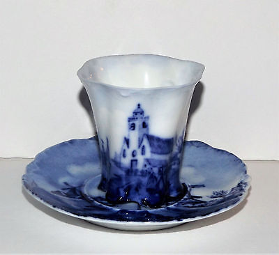 ANTIQUE DELFT Blue & White ROSENTHAL Vintage Circa 1900 DEMITASSE CUP and SAUCER