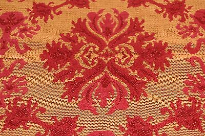 Vintage Fall Berry Persimmon Woven Primitive Coverlet Piece 16 x 22