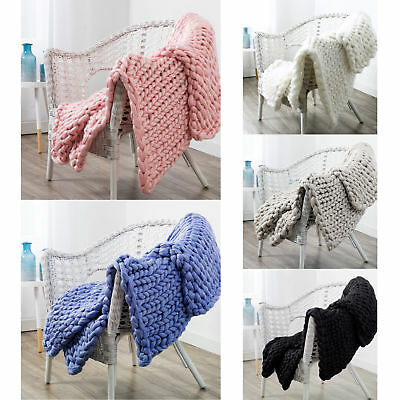 Acrylic Chunky Knit Sofa Lounge Bed Throw Rug Blanket Runner