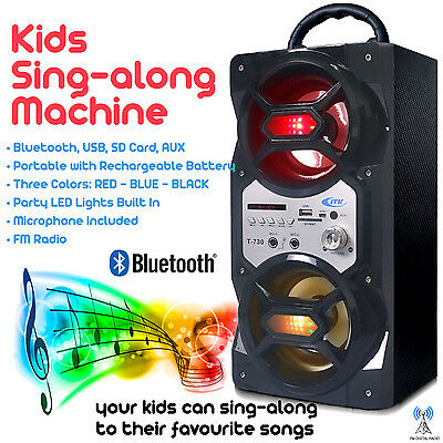 Black Kids Sing-Along Portable Speaker With 2 Microphones