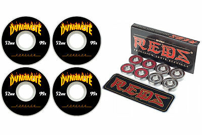 Dynamite Forever 52mm Thrashed Skateboard Wheels + Bones Reds Bearings FREE POST