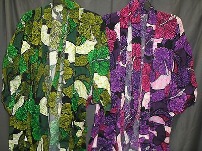 Lot of 2 Vintage His Hers Floral Hawaiian Barkcloth Robes Green & Purple OS