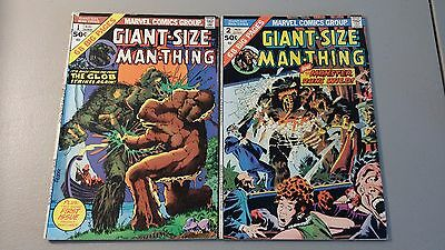 1974 Marvel Comics Lot Of 2 Giant Size Man-Thing #1 & #2 Vg+ Flat Rate Shipping
