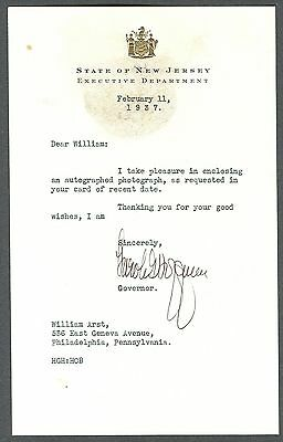 Harold Hoffman/New Jersey Governor/Signed/Autograph