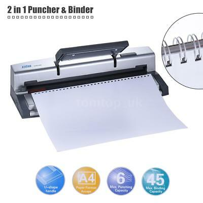 2 in 1 Paper Puncher + Binder A4 Punch Wire 45 Sheets Binding Machine-DSB T5I9