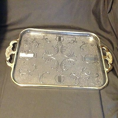 """Vtg HARP 2-HANDLED TRAY 15.25x10"""" by JEANNETTE GLASS CO. Made from 1954-56"""