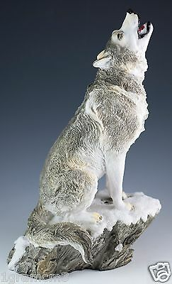 "Wolf Howling Figurine Resin 9"" High - Highly Detailed - New In Box"