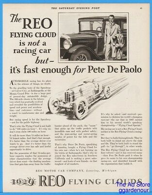 1928 Reo Flying Cloud Car Ad Lansing MI Pete DePaolo Indianapolis Motor Speedway