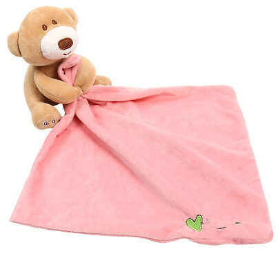 Baby Soft Plush Cute Bear Blankie Bib Kids Infant Toy Gift Comfort Towel Infant