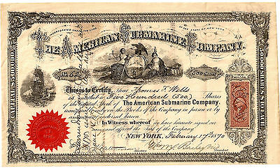 1870 THE AMERICAN SUBMARINE COMPANY Very Scarce Piece WITH REVENUE STAMPS