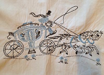 Vintage Southern Belle Crinoline Lady Carriage Embroidered Dresser Table Runner
