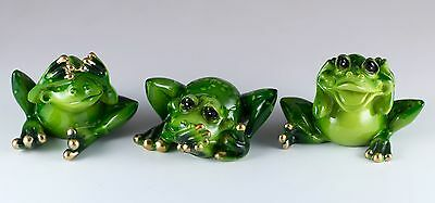 See, Speak, Hear No Evil Set of 3 Green Frog Figurines Resin New In Box!