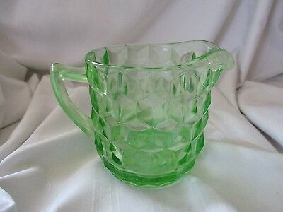Green depression glass Jeanette cubist cube creamer