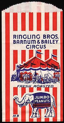 Vintage bag RINGLING BROS BARNUM and BAILEY CIRCUS Peanuts elephant pic n-mint+