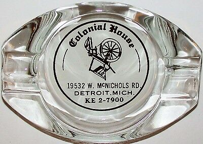 Vintage glass ashtray COLONIAL HOUSE spinning wheel pictured Detroit Michigan
