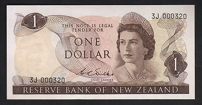 New Zealand  P-163b (1968) One Dollar - Wilks. 1st Prefix 3J..aU-UNC. Low number