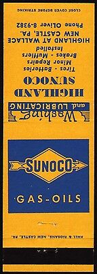 Vintage matchcover SUNOCO Gas Oils Highland Sunoco New Castle PA n-mint cond