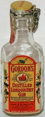 Vintage mini liqour bottle GORDONS GIN old Missouri tax stamp with reseal cap