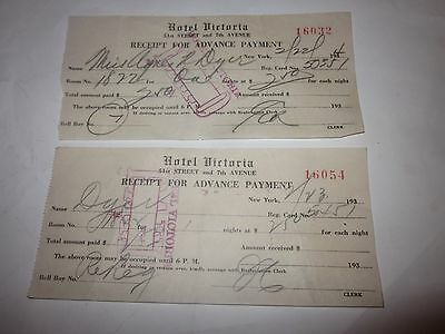 1934 Hotel Victoria New York City Receipts for Advanced Payment slips