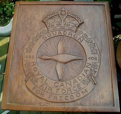 Handsome Royal Canadian Air Force Ww11 408 Goose Squadron Carved Wood Plaque