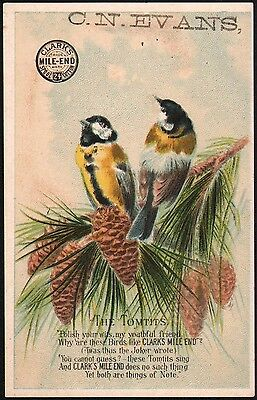 Vintage trade card CLARKS MILE END SPOOL COTTON The Tomtits birds C N Evans exc+