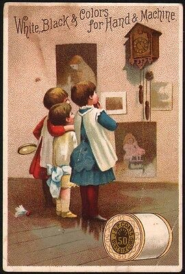 Vintage trade card J and P COATS Best Six Cord Thread children pic 1887 calendar