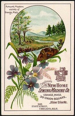 Vintage trade card NEW HOME SEWING MACHINE Orange Mass Putnams Meadow pic n-mint