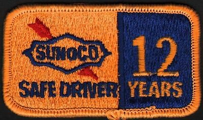 Vintage uniform patch SUNOCO SAFE DRIVER 12 Years unused new old stock n-mint+