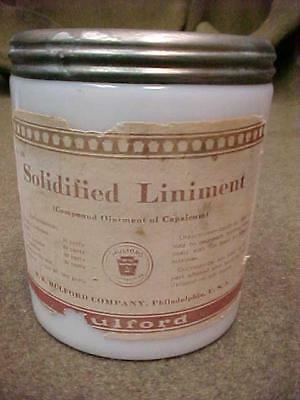 H K MULFORD SOLIDIFIED LINIMENT OINTMENT of CAPSICUM Milk White Jar ORIG LABEL