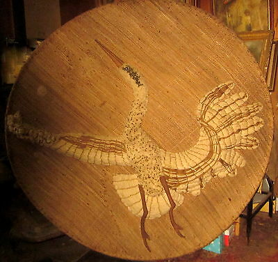 "48"" diameter hand sewn Heron on hessian wall hanging - craft art ."