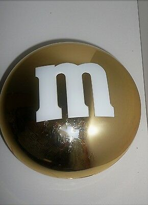 Gold M&M's Confectionery Round Container Candy Lolly Tin Advertising