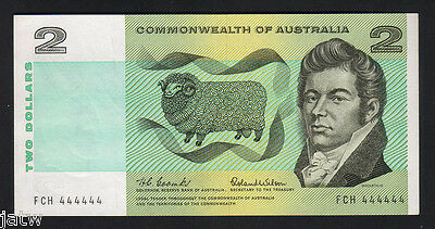 Australia R-81. (1966) 2 Dollars - SOLID Serial number 444444. gEF-aU  SCARCE