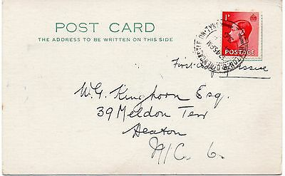 EDWARD VIII PC with 1d Stamp FDI HEATON New Castle Tyne PMK 14 Sept 36 REF:PP209