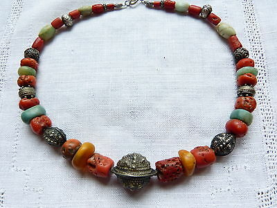 Ancient Amazonite, Antique Moroccan Amber and Coral Necklace, Antique Silver